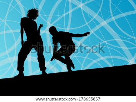 Active young man and woman street break dancers silhouettes in abstract line background illustration vector - stock vector