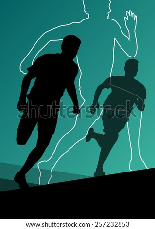 Active young men sport athletics hurdles barrier running silhouettes illustration - stock vector