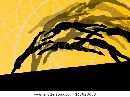 Active young swimmers diving and swimming in water sport pool silhouettes vector abstract background illustration - stock vector
