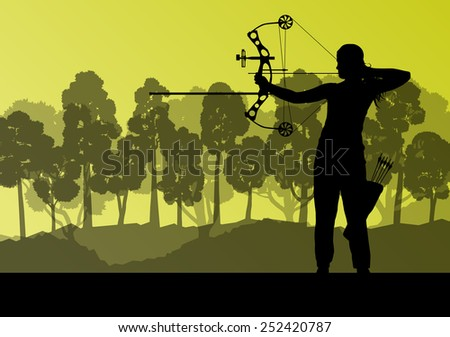 Active young woman archery sport silhouettes in abstract background illustration vector nature landscape - stock vector