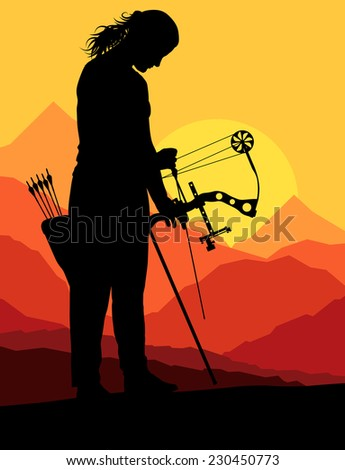 Active young woman sport silhouettes background vector in nature - stock vector