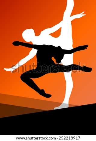 Active young women sport gymnasts ballerinas silhouettes in acrobatics abstract background illustration vector - stock vector