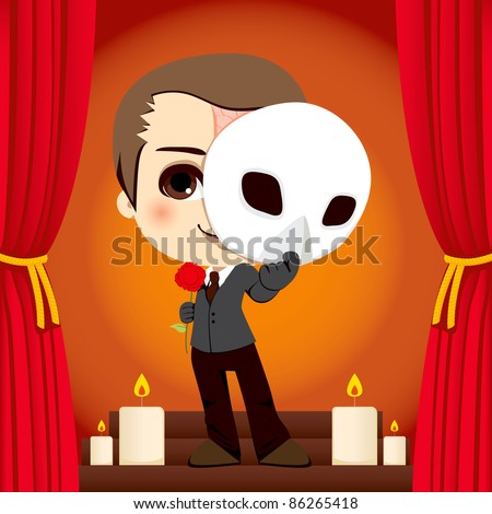 Actor holding a rose and a mask on a stage representation of the Phantom of the Opera - stock vector