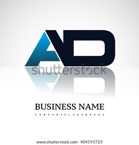 AD company linked letter logo icon blue and black - stock vector