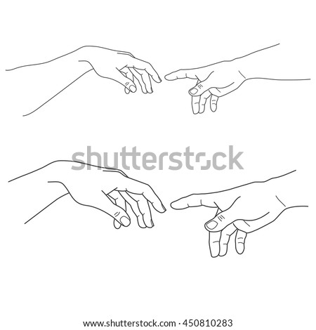 Adam and God hands, touch, hope, help, vector illustration - stock vector