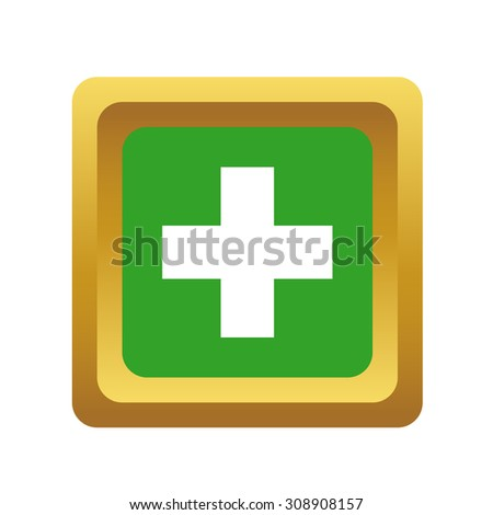 Add button, square, volumetric, colored, isolated on white - stock vector