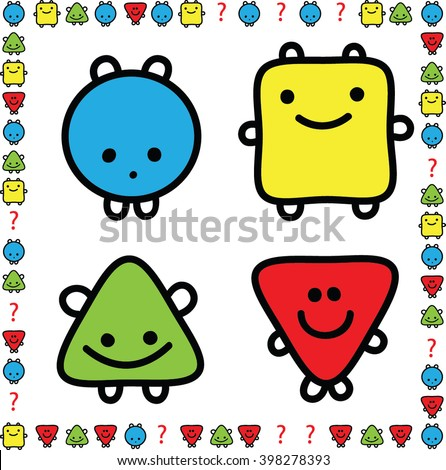 Add missing. Cartoon shape. Square, Circle, Triangle. Illustration of Completing the Pattern Educational Task for Preschool Children with Basic Geometric Shapes - stock vector