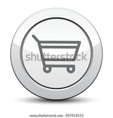 add to cart, silver button. eps 10. - stock vector