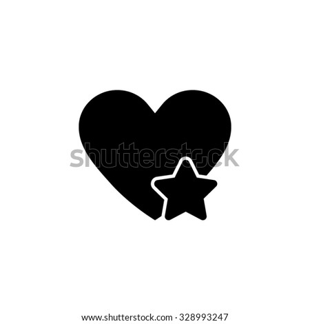 Add to favorites - Heart with Star - black vector icon - stock vector