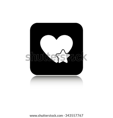 Add to favorites - Heart with Star - vector icon with  shadow - stock vector