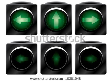 Additional traffic light. Variants. Vector illustration. Isolated on white background. - stock vector