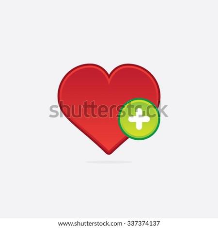 Addto Favorites Heart Icon - stock vector