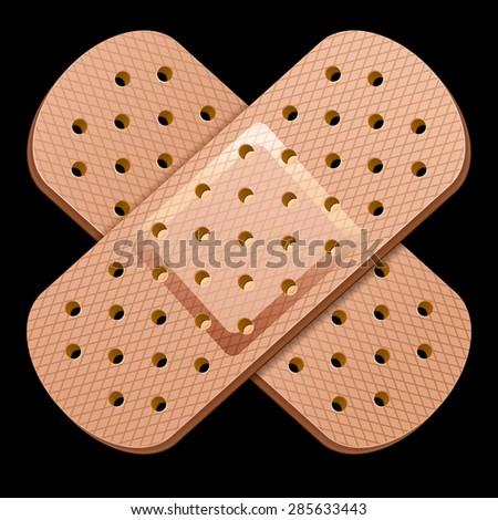 adhesive bandage 10eps. Isolated on black - stock vector