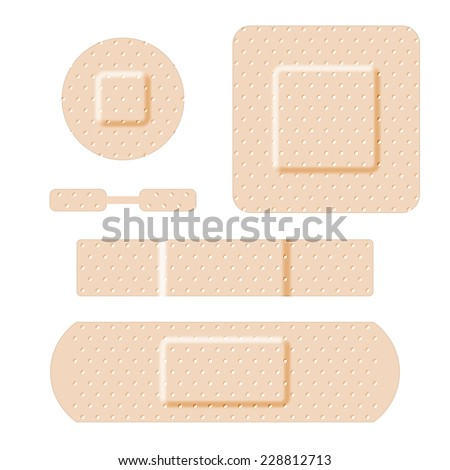 Adhesive bandages set, medical and healthcare. Vector illustration - stock vector