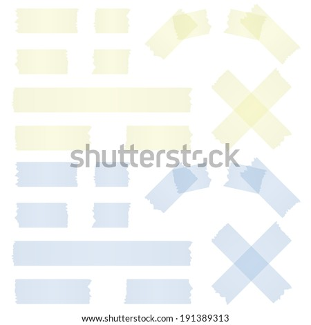 adhesive strip yellow and blue - stock vector