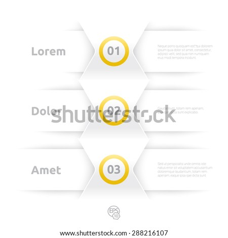Adjustable Composition of an Abstract Geometric White Paper Background Based List Elements, Content and Menu Field for Numbering or for Web, Print, Brochure or for Info graphics - stock vector