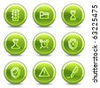 Administration icons, green circle glossy buttons - stock vector