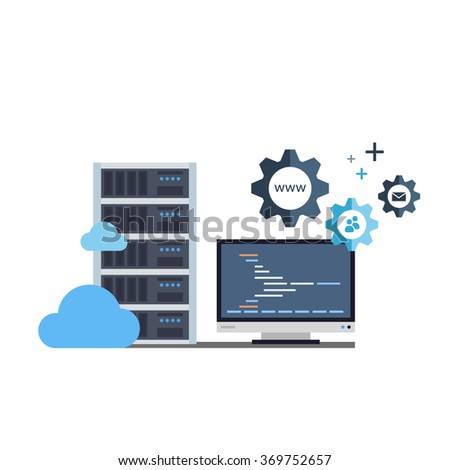 Administration of Hosting Services - stock vector