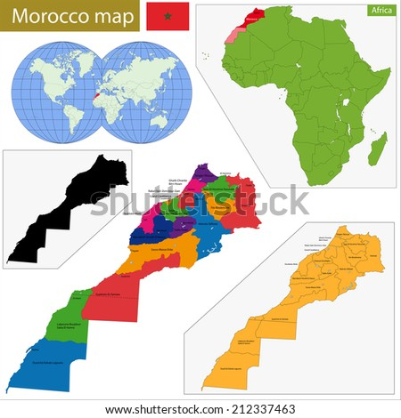 Administrative division of the Kingdom of Morocco - stock vector