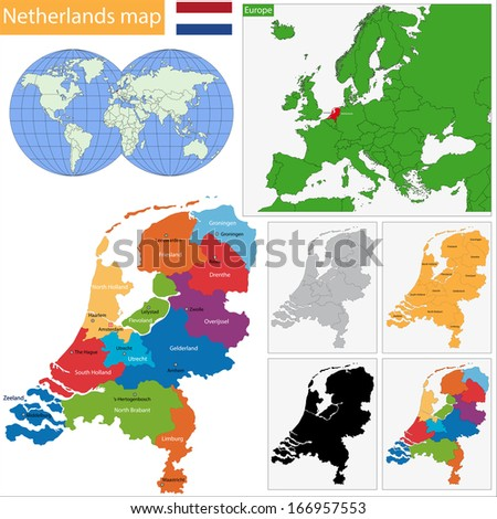 Administrative division of the Kingdom of the Netherlands - stock vector