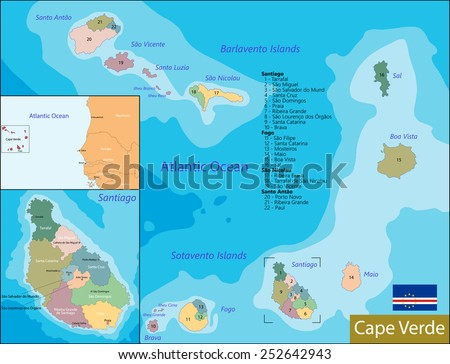 Administrative division of the Republic of Cabo Verde - stock vector