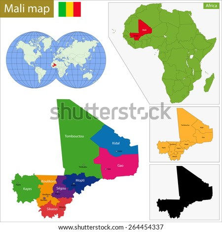 Administrative division of the Republic of Mali - stock vector