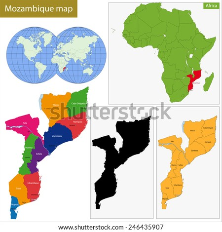 Administrative division of the Republic of Mozambique - stock vector