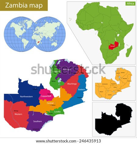 Administrative division of the Republic of Zambia - stock vector