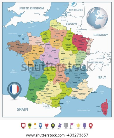 Administrative divisions map of France and flat navigation icons with separated layers. - stock vector