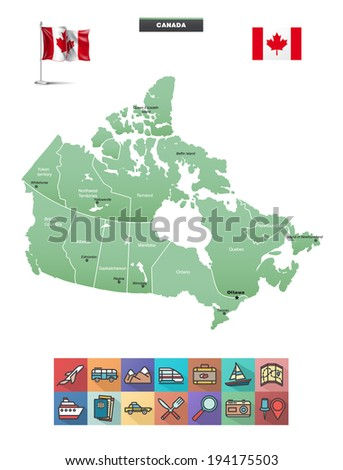Administrative map of Canada.  Flag and traveling icons eps10 - stock vector