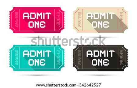 Admit One Tickets Set - Retro Vector Illustration Isolated on White Background - stock vector