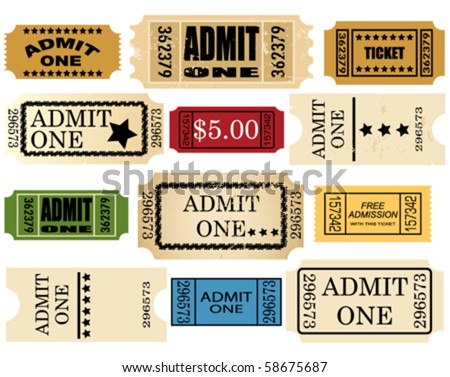 admit ticket one set - stock vector