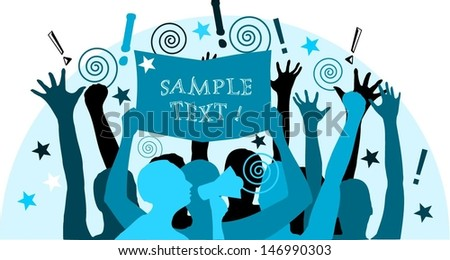 Ado - crowd with banner and megaphone. Manifesting crowd. - stock vector