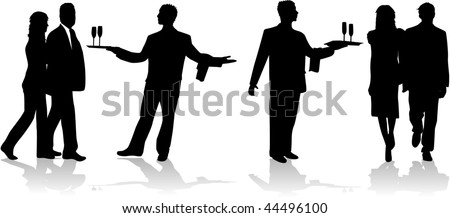adopt-a waiter gives drinks - stock vector