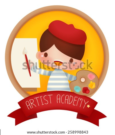 Adorable artist banner - Vector file EPS10 - stock vector