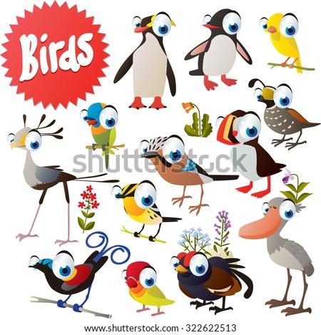 Adorable cartoon comic birds set: penguin, canary, quoll, fowl, jay, puffin, grouse, shoebill, parrot, bird of paradise, secretary bird, lovebird - stock vector