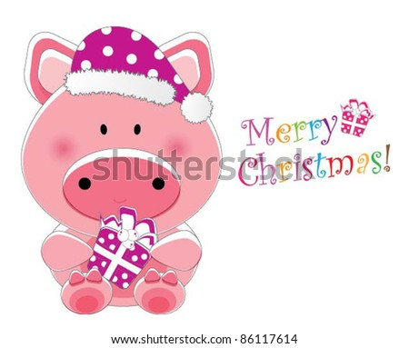 Adorable christmas animal greeting ( Piggy version, 9 different animals in total) - stock vector