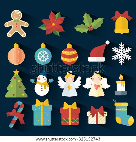 adorable Christmas elements in flat design isolated over dark background - stock vector