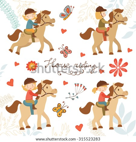 Adorable collection of cute little girls riding horses. Vector illustration - stock vector