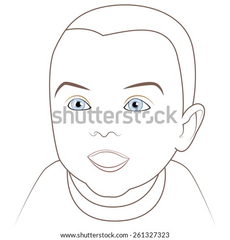 Adorable happy baby with blue eyes. vector - stock vector