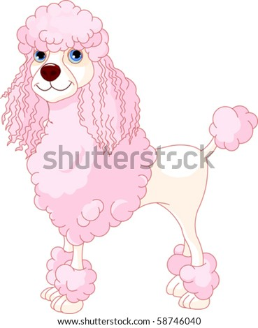 Adorable illustration of cute Pink Poodle - stock vector