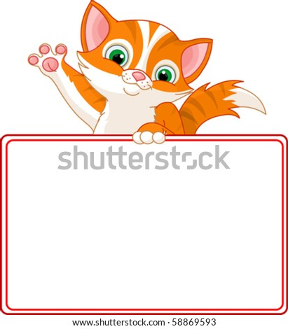 Adorable Kitten Looking Over A Blank Starry Sign - stock vector