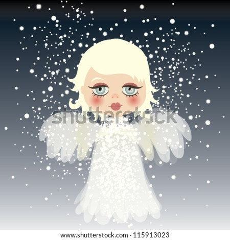 Adorable little angel on the sky / Snow background - stock vector