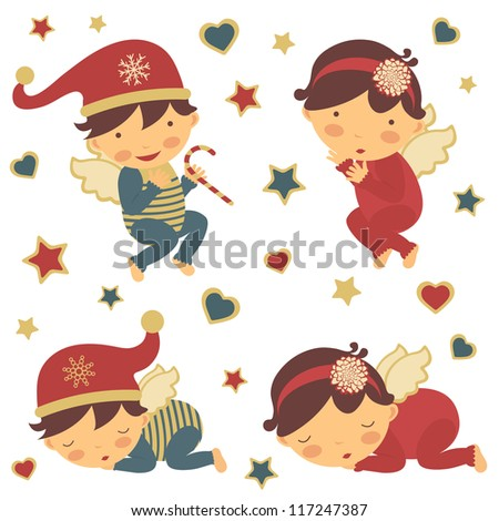 Adorable little Christmas angels collection - stock vector