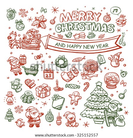 adorable Merry Christmas hand drawn elements collection - stock vector