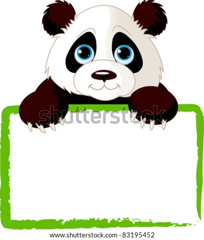 Adorable  Panda Looking Over A Blank Sign - stock vector