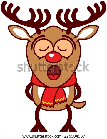 Adorable reindeer with big antlers red nose and wearing a red scarf