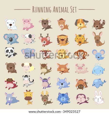 adorable running animals collection set in cartoon style - stock vector