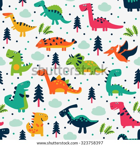 Adorable seamless pattern with funny dinosaurs in cartoon. Ideal for cards, invitations, party, banners, kindergarten, baby shower, preschool and children room decoration - stock vector