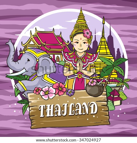 adorable Thailand travel concept poster in hand drawn style - stock vector